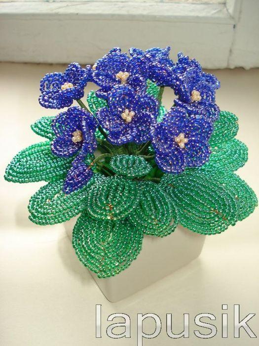 ПЛЕТЕНИЕ /цветы и деревья из бисера. бисероплетение. в цитатник. фиалка из бисера.  В свой цитатник или сообщество!
