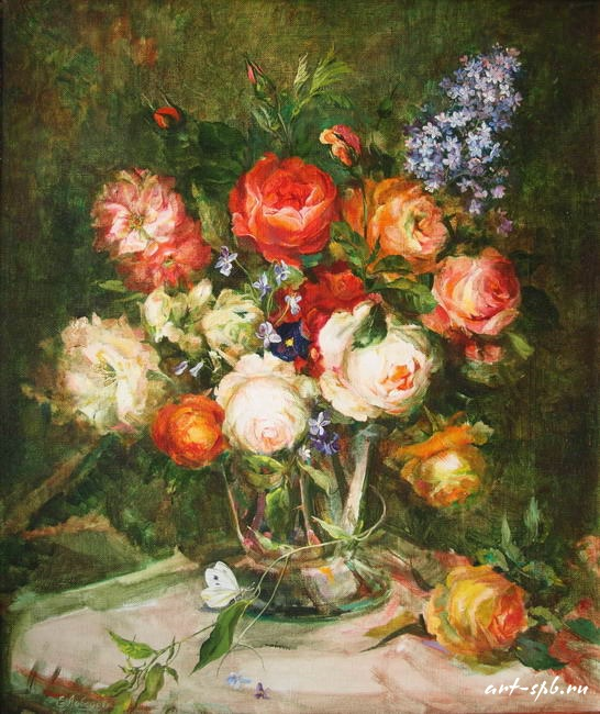 Цветы в вазе: оригинал.