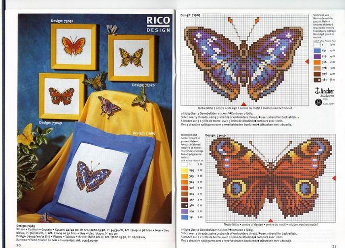 Предпросмотр - Схема вышивки Бабочки - Схемы автора xa00p