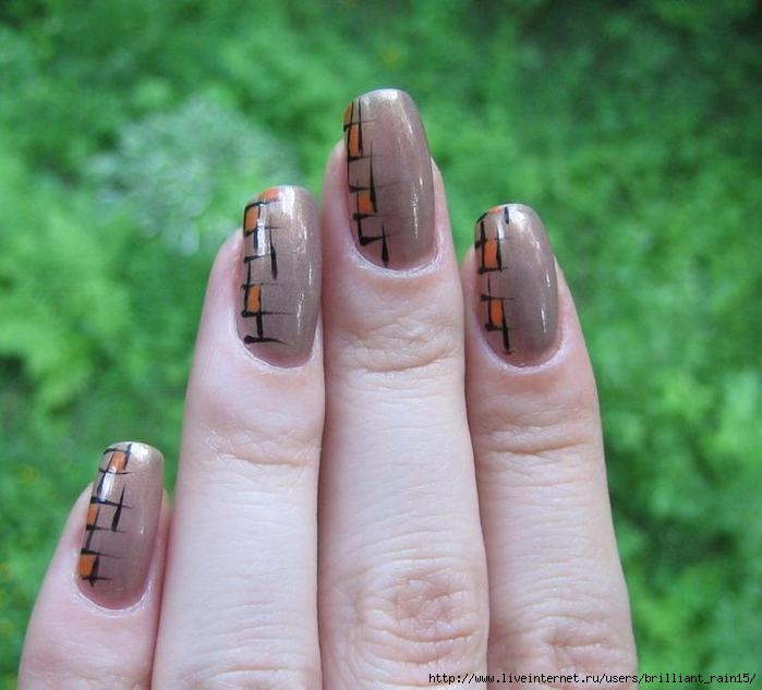 Урок 5. Учимся рисовать на ногтях 1. Покрываем ноготь лаком - основой; 2. Наносим 2 слоя розового лака; 3. Тонкой...