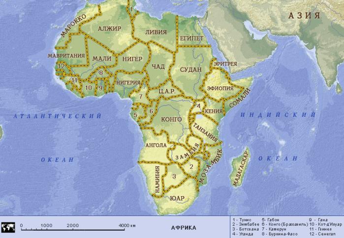 Карта Африка, подробная карта Африки, туристическая карта Африки, физическая карта Африки.