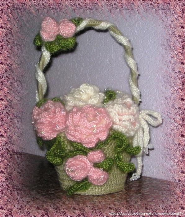 Вязание/вязаные цветы.  Прочитать целиком.  Корзиночка с розами.