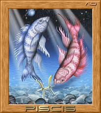 """Схема вышивки  """"Знак зодиака - рыбы """" ."""