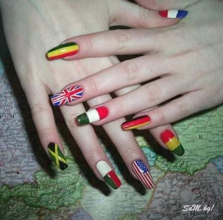 дизайн ногтей американский флаг: