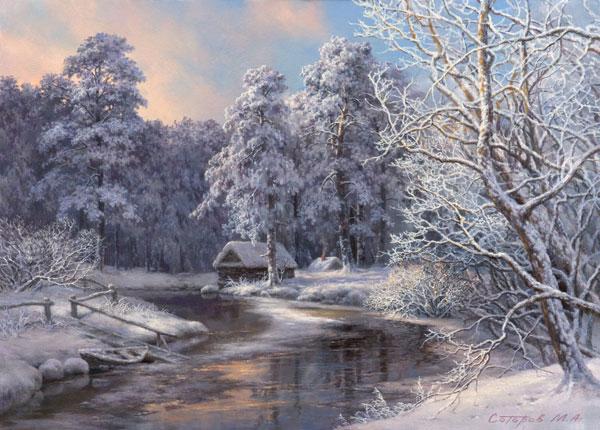 Еще один лесной домик отшельника в красивом зимнем лесу.