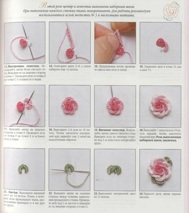 как вышить объемную розу чипсы потом