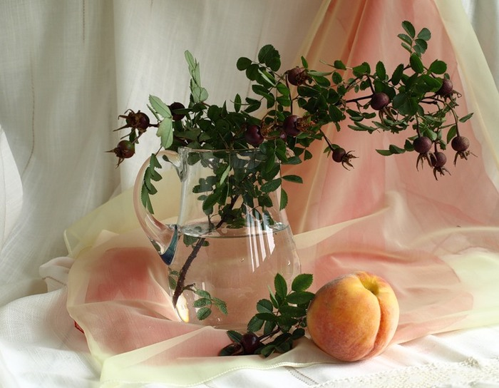 """Схема вышивки  """"Персик """": таблица цветов."""