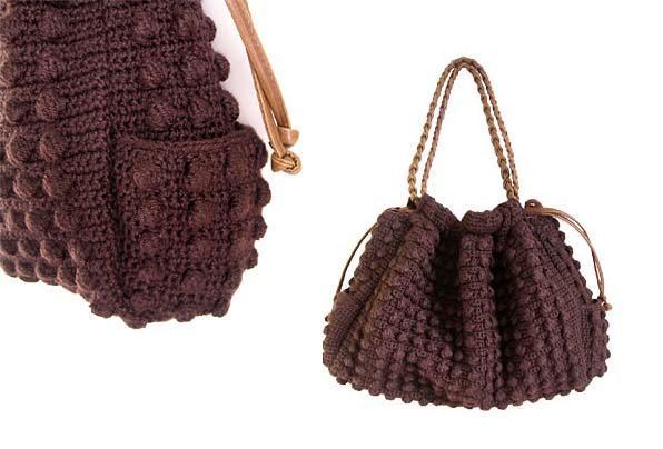 выкройка вязаной сумки.
