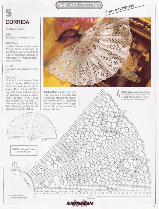 Схема для вязания веера.