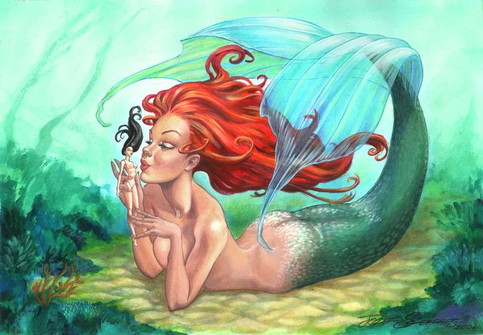 У кого на сердце свалка, У кого наоборот, А в моей душе русалка Поселилась и живет.  То ли оказала милость...