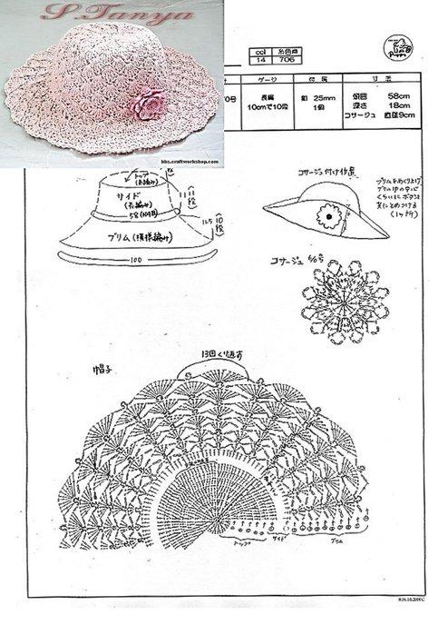 Схема вязания шляпки с полями 130