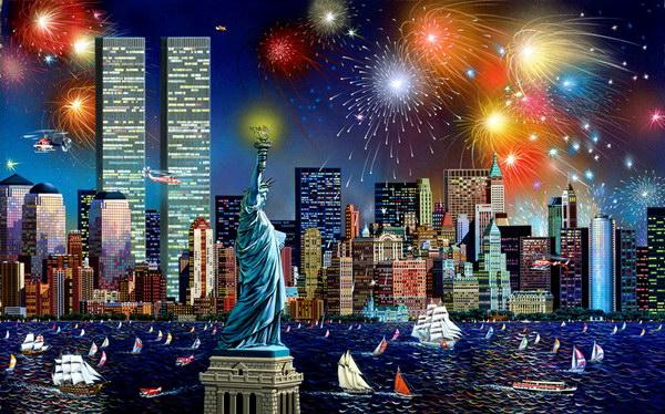 """Марка нитей.  Теги. америка. статуя свободы.  300x187 крестов. allllla. картина.  Портал  """"Вышивка крестом """"."""