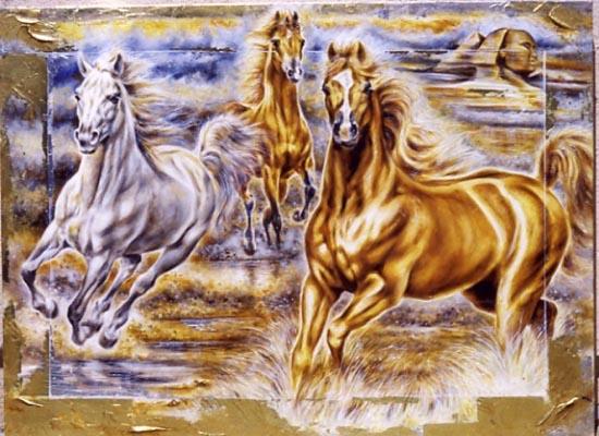 """Схема вышивки  """"Бегущие кони """" ."""