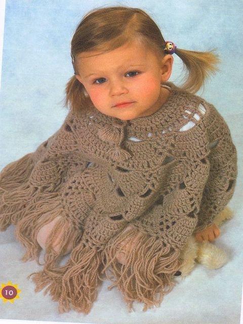 Вязание пончо для девочек.