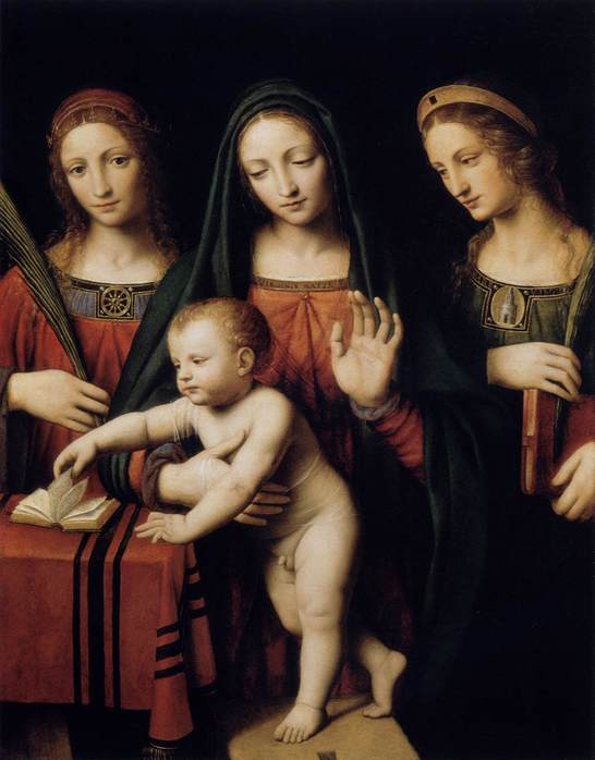 """Схема вышивки  """"Мадонна, Екатерина и Варвара """": таблица цветов."""
