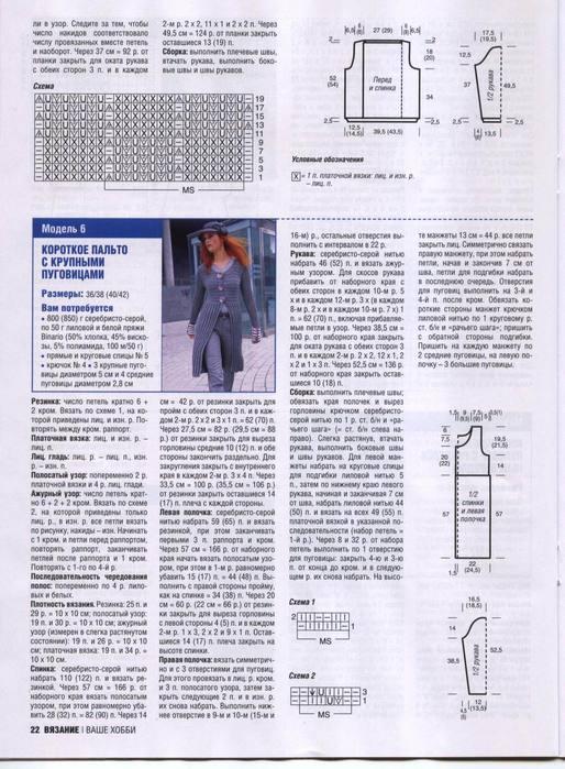 Схема вязанного пальто спицами фото