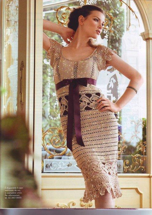 Изделия вязаные крючком платья. вязани бисер крючком.