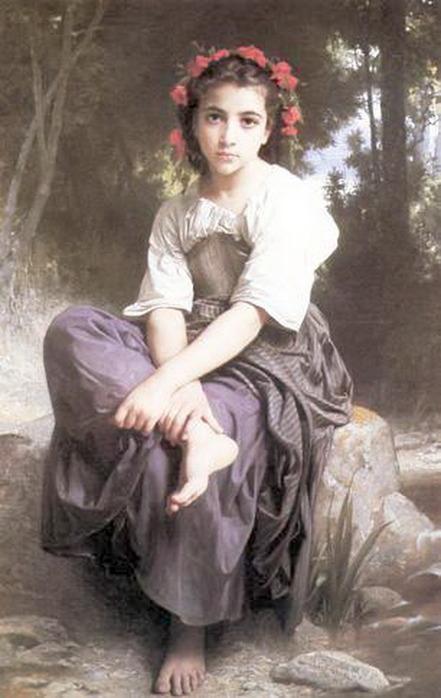 СХЕМА.  Девушка на берегу реки.  Картина.  Вышивка крестом, схемы.