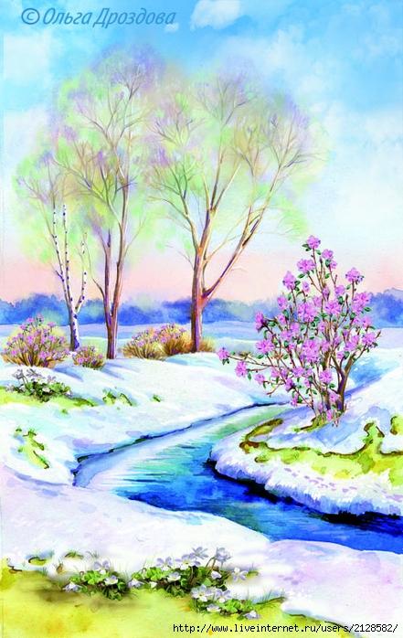 весенний пейзаж картинки нарисовать