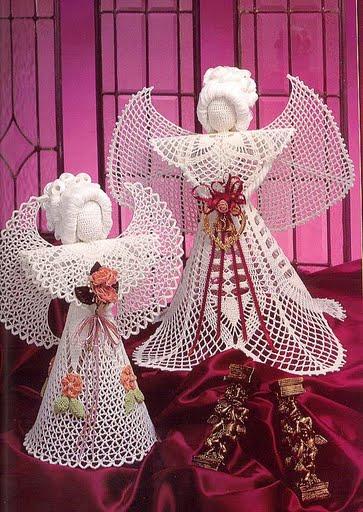 Элегантные ангелы с описаниями (вязание крючком) .