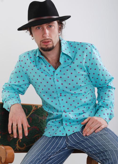 Рубашка в горошек мужская 8