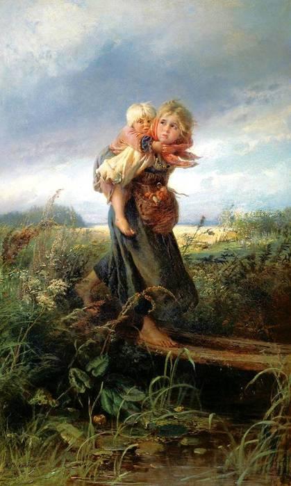 """В 1872 году Константин Егорович Маковский (русский художник) написал картину  """"Дети, бегущие от грозы """"."""