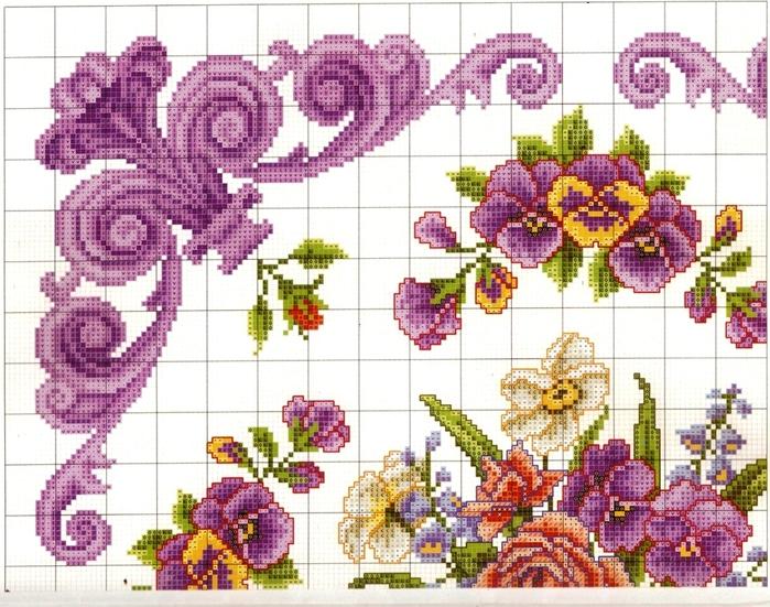 Очень красивая схемка: анютины глазки, розы и нежный, переходящий в яркий, лиловый орнамент.  Нравится. вышивка.