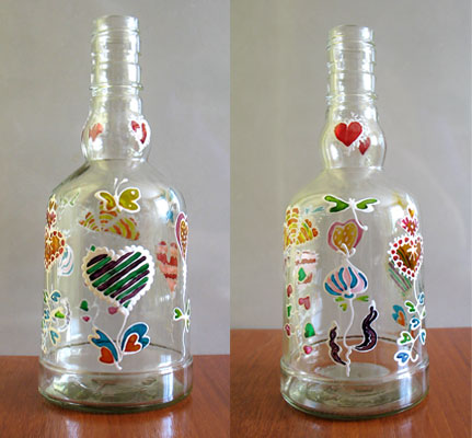 Fall craft ideas water bottle jars candleglass bottles for Crafts to make with glass jars