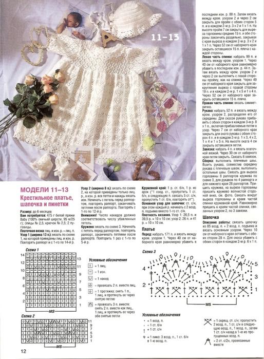 Интересное платье спицами для малышки 3-6 месяцев. Описание