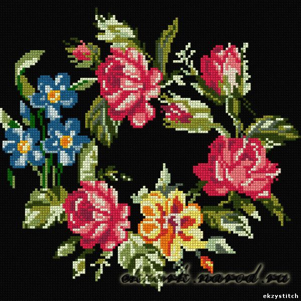 Схема для вышивки крестом - Петриковская роспись (150x150, 20 цветов). header=Схема для вышивки крестом...