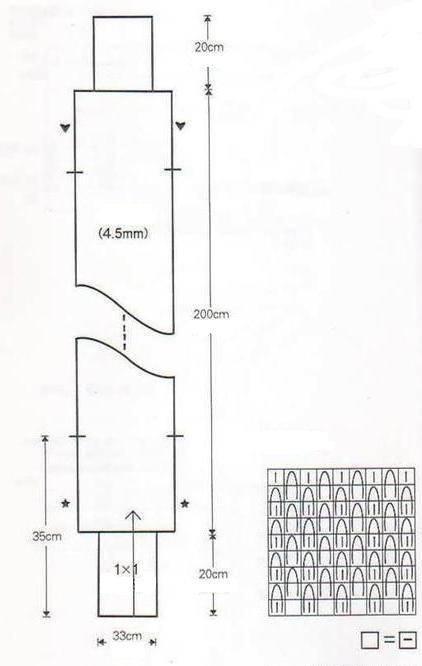Полотно 70 х 250, высота рукава 40-50 см. Свободнее драпируется и лучше сидит.  500 гр.пряжи не менее.