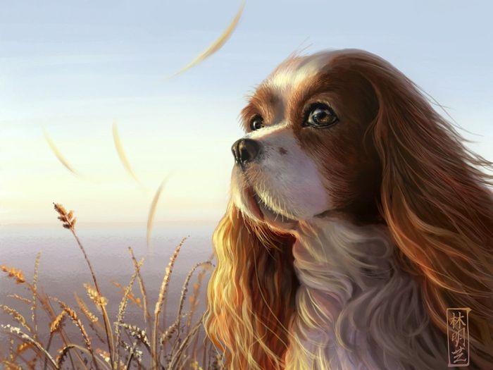 Скачать бесплатно картинку на телефон Животные, Рисунки, Собаки.
