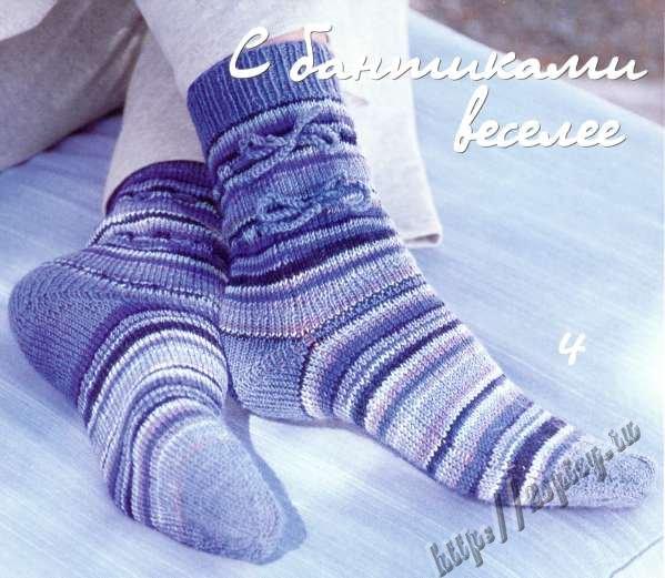 Вязание спицами носков с описанием.