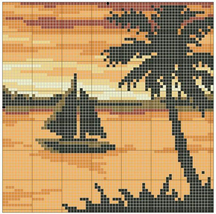Лодка, в сумерках плывущая по морской глади прямо у берега с пальмами.  Цветов: 7.