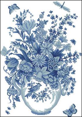 Cхемы вышивки крестом цветы - ваза с голубыми цветами.  Посмотрите на эту шикарную схему вышивки крестом.