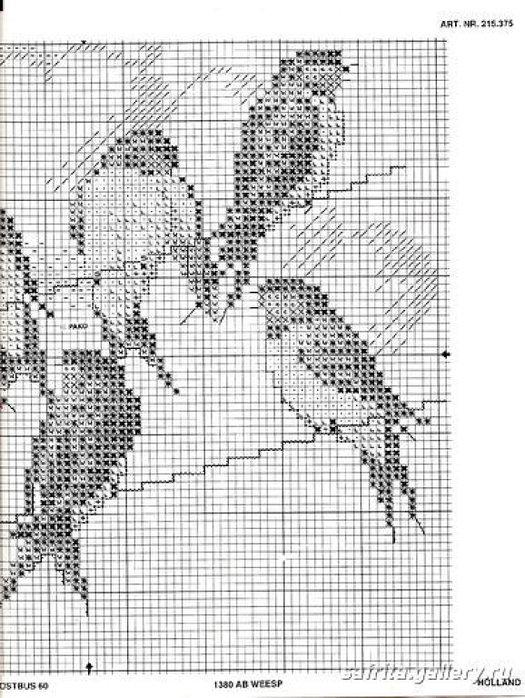 Схемы вышивки ласточки