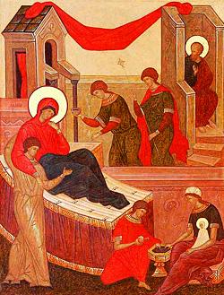 Рождество Пресвятой Богородицы (фрагмент иконы)