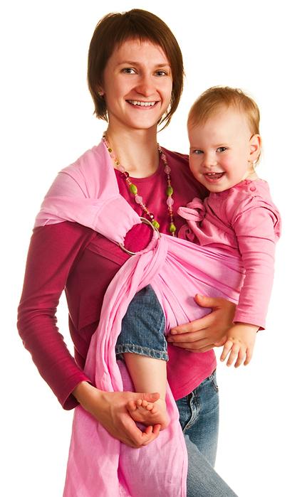 слинг для переноски детей розовый с кольцами