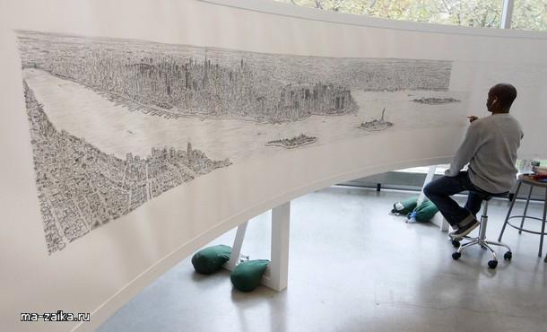 Рисованная панорама Нью-Йорка от британского художника Стивена Уилтшир.