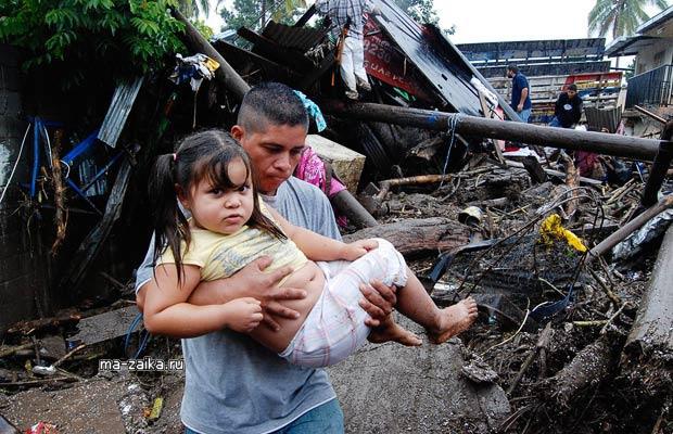 Ураган Ида в Сальвадоре, сильные дожди cтали причиной наводнений и оползней.