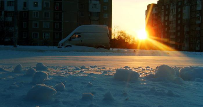 чеканы, солнце, рассвет, зима