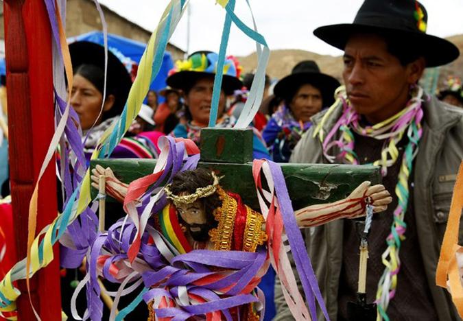 Парад шахтеров в Потоси, Боливия, 30 января 2010 года.