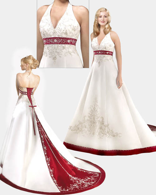 Свадебное платье красная юбка
