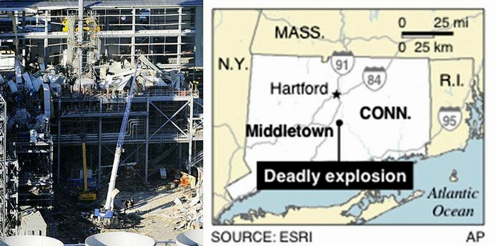 Взрыв на Kleen Energy Systems заводе в Коннектикут, 7 февраля 2010 года.