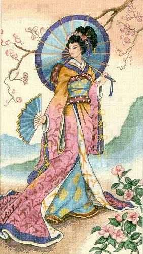 Схема вышивки гейша.