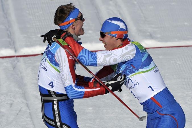 Лыжный спринт. Крюков, Панжинский – Золото и Серебро России, Олимпиада в Ванкувере, Канада, 17 февраля 2010 года.