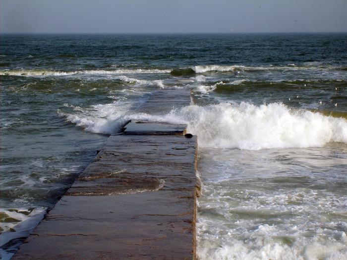море, пирс, волна