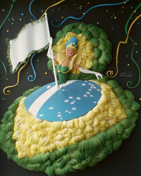 Бразильский дизайнер воплотил буйство карнавала на цветной бумаге