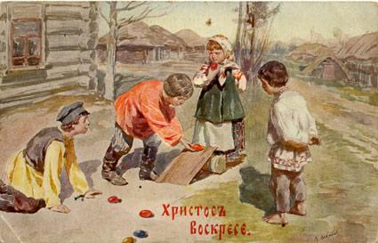 катание яиц на пасху иллюстрация