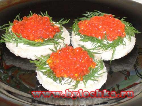 бутерброды с икрой красной оформление фото